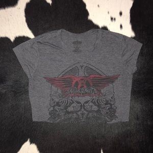 Aerosmith Back In The Saddle Charcoal Grey Ladies Crop Top Shirt New Official